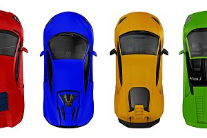 set of supercars top view