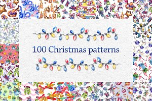 100 patterns of christmas JPG set