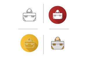 Hand holding tool bag icon