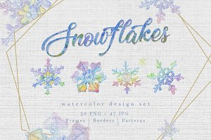 Watercolor colorful snowflakes PNG