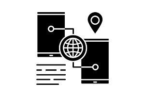 Smartphone GPS navigation glyph icon