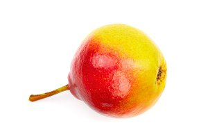 one ripe red yellow pear fruits