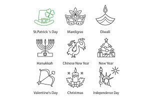 Holidays linear icons set
