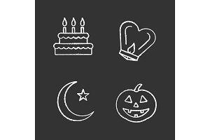 Holidays chalk icons set