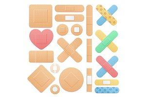 laster Medical Patch Set. Vector