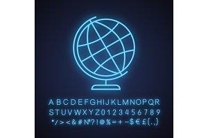 School globe neon light icon