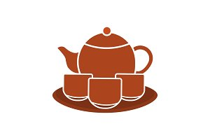 Tea set glyph color icon