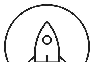 Rocket stroke icon, logo