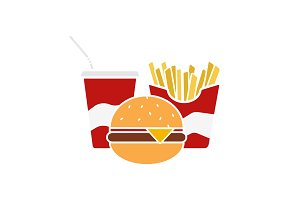 Fast food glyph color icon