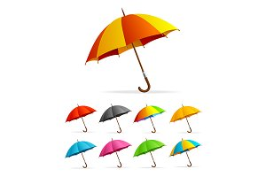 Color Umbrella Set. Vector