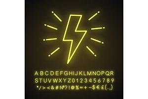 Lightning bolt neon light icon