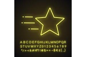 Flying star neon light icon