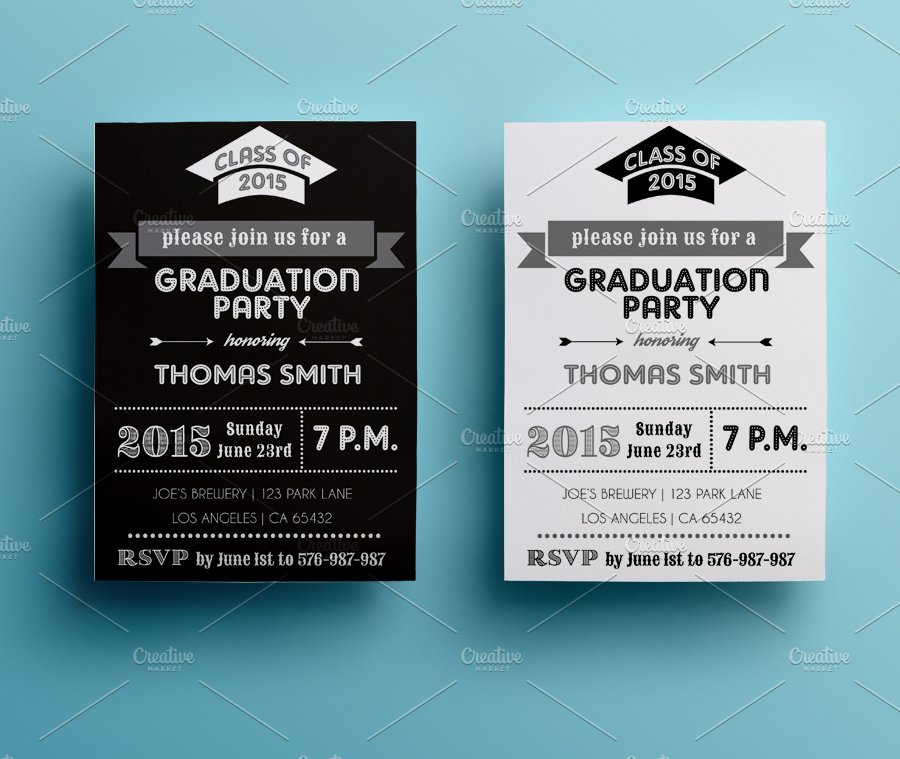 Graduation Party Invitation Invitation Templates Creative Market – Graduation Invite Templates Free