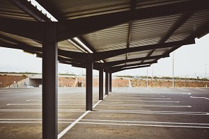 Photo of empty parking lot in the