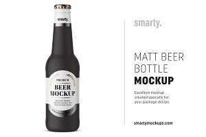 Matt beer bottle mockup