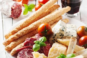 Concept of italian antipasto