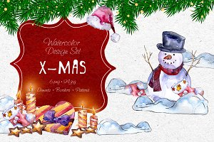 X-Mas PNG watercolor set