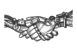 Robot handshake engraving vector