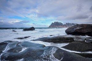 Beach of fjord in Norway