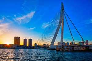 Erasmus Bridge on sunset, Rotterdam