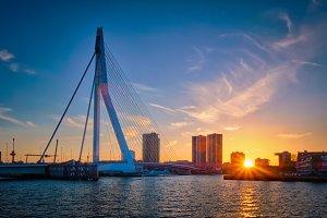 Erasmus Bridge on sunset, Rotterdam