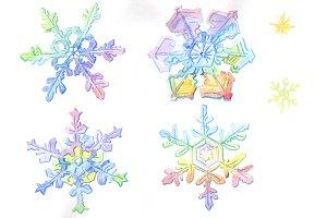 Aquarelle colorful snowflakes PNG