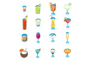 Cocktail Drink 3d Set Isometric