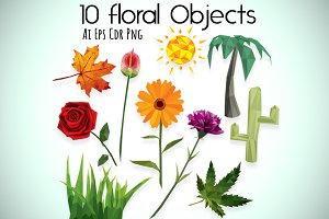 10 Floral Objects Low Poly Style