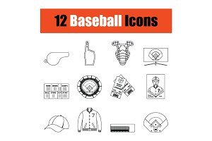 Baseball icon set