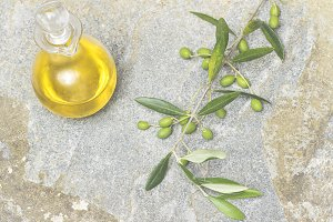 Olive oil, flat lay