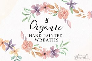 Watercolor Floral Wreath Set Lilac