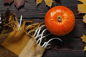 Orange pumpkin, autumn leaves