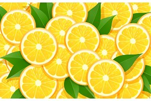 Orange and leaf. Citrus pattern.