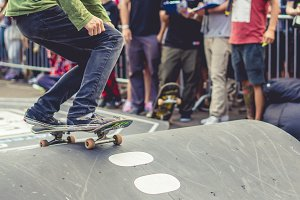 skateboard rider in action in the co