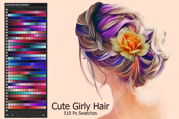 cute girly hair ai swatches color palettes creative market