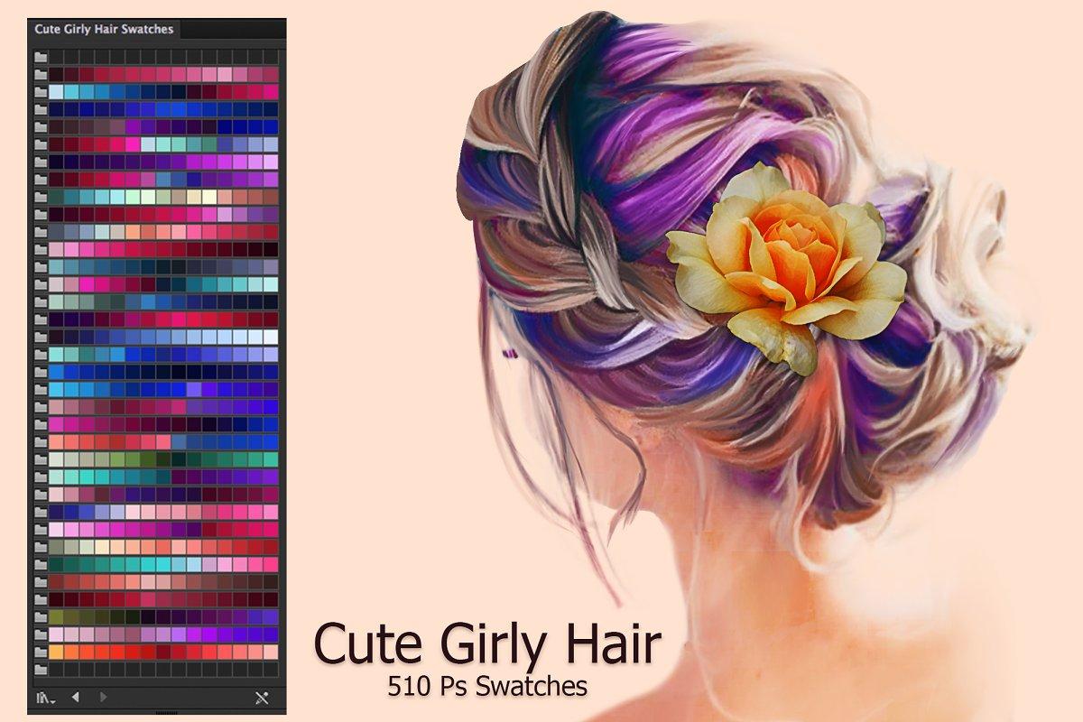 Cute Girly Hair Ai Swatches