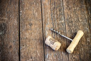 corkscrew and cork from wine