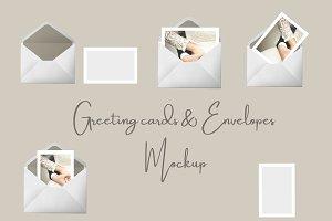 Greeting cards and envelopes Mockup
