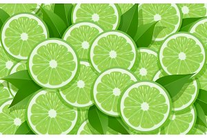 Lime and leaf. Citrus pattern.