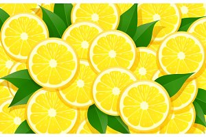 Lemon and leaf. Citrus pattern.