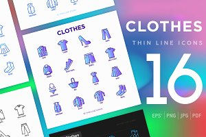 Clothes | 16 Thin Line Icons Set