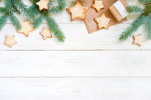 Holiday white wooden background