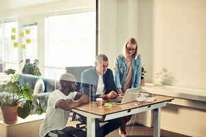 Diverse businesspeople working toget