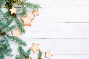 Natural holiday wooden background