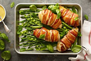 Bacon wrapped chicken breast with as