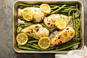 Roasted chicken breast with lemon an