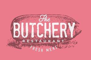 Vintage restaurant pork logo & card