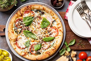Margherita pizza with basil
