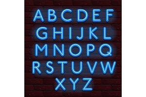 Neon Banner blue color alphabet font