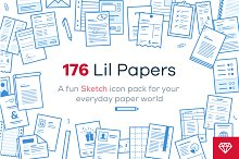 Lil Papers - 176 icons for Sketch
